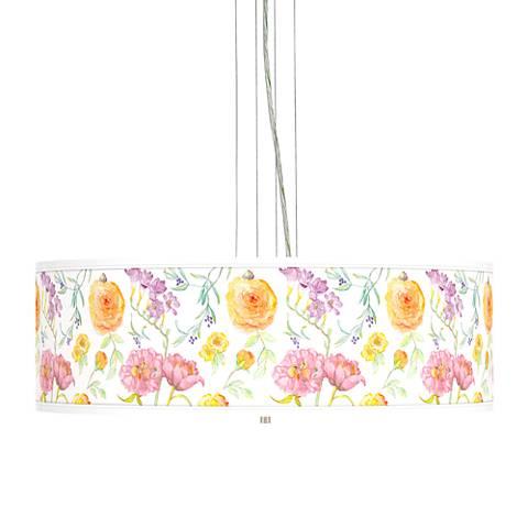 "Spring Garden Giclee 24"" Wide 4-Light Pendant Chandelier"