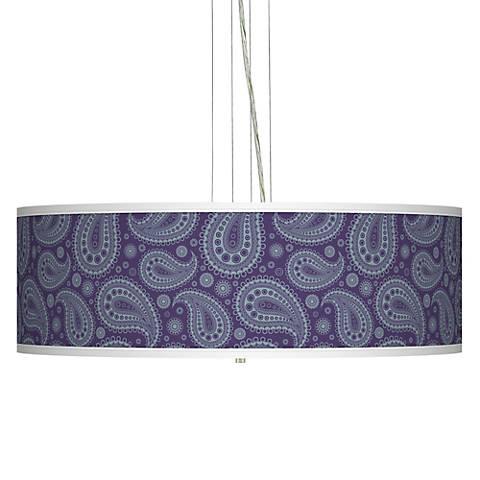 "Purple Paisley Linen Giclee 24"" Wide Pendant Chandelier"