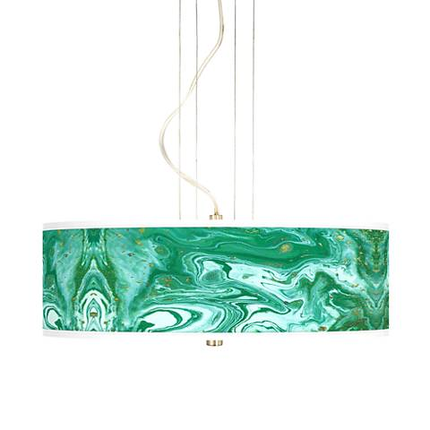 "Malachite 20"" Wide 3-Light Pendant Chandelier"