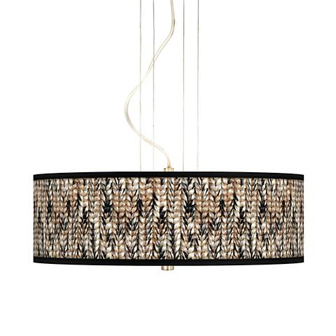 "Braided Jute 20"" Wide 3-Light Pendant Chandelier"