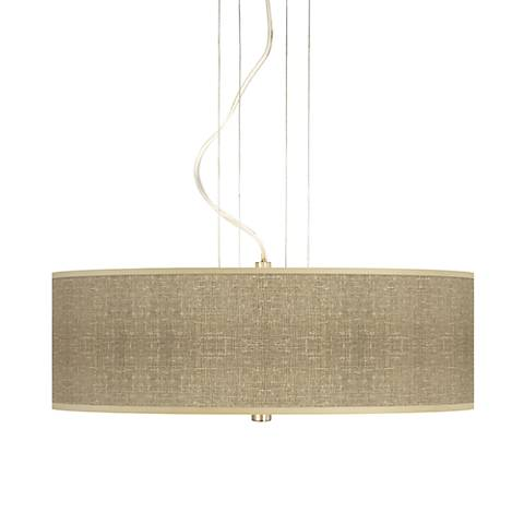 "Burlap Print 20"" Wide Three Light Pendant Chandelier"