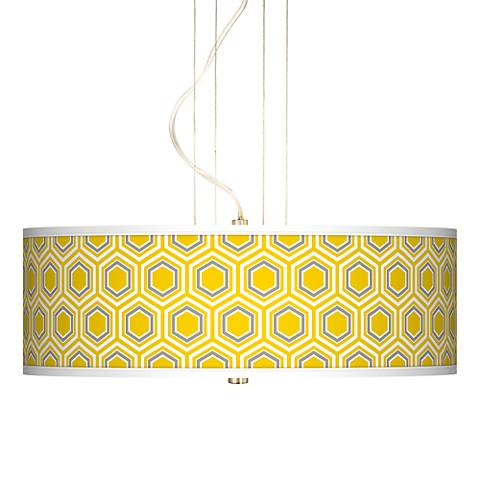 "Honeycomb Yellow 20"" Wide 3-Light Pendant Chandelier"