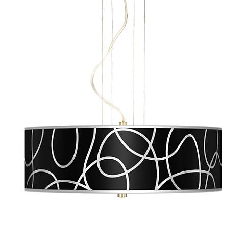 "Abstract Silver Metallic 20"" W 3-Light Pendant Chandelier"