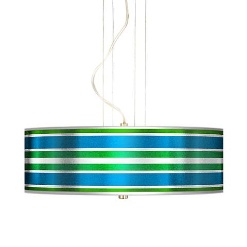 Multi Color Stripes Silver Metallic Pendant Chandelier