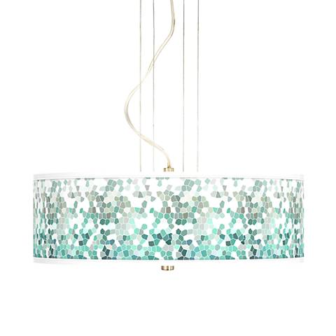 "Aqua Mosaic 20"" Wide 3-Light Pendant Chandelier"