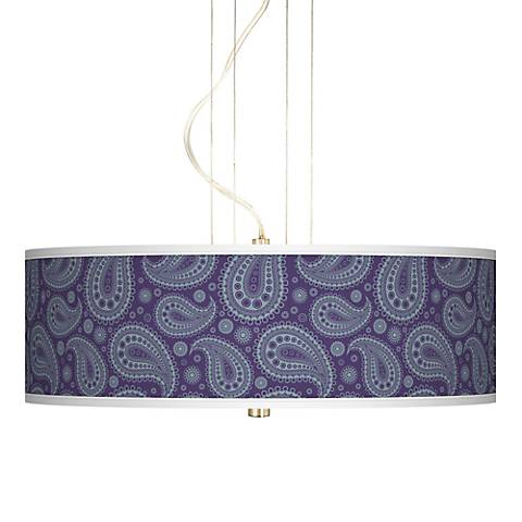 "Purple Paisley Linen Brushed Nickel 20"" Wide 3-Light Pendant"