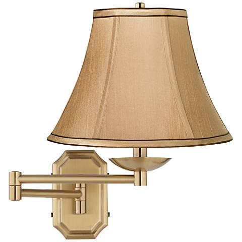 Tan Fabric Bell Alta Cut Corner Antique Brass Swing Arm