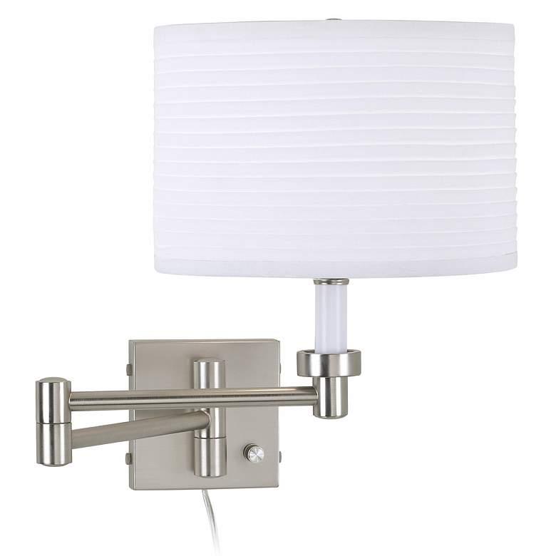 Brushed Nickel Plug-In Swing Arm Wall Lamp