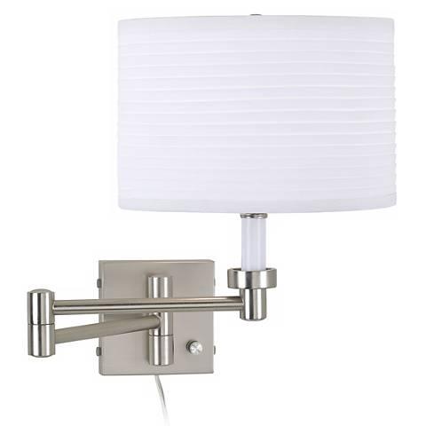 Brushed Steel Plug-In Swing Arm Wall Lamp