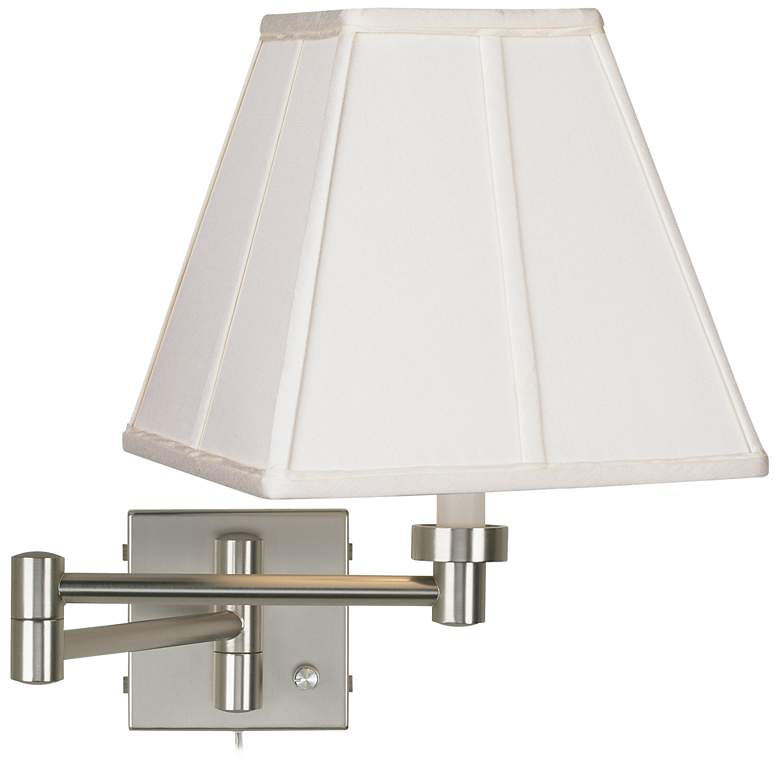 Ivory Shade Brushed Nickel Plug-In Swing Arm Wall Lamp