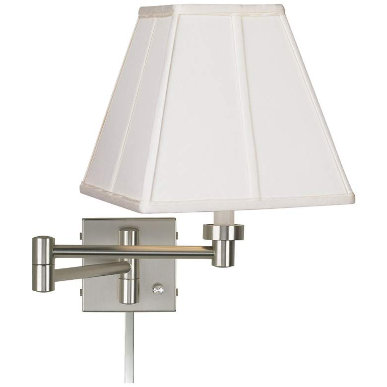 Ivory Square Brushed Nickel Swing Arm Lamp with Cord Cover