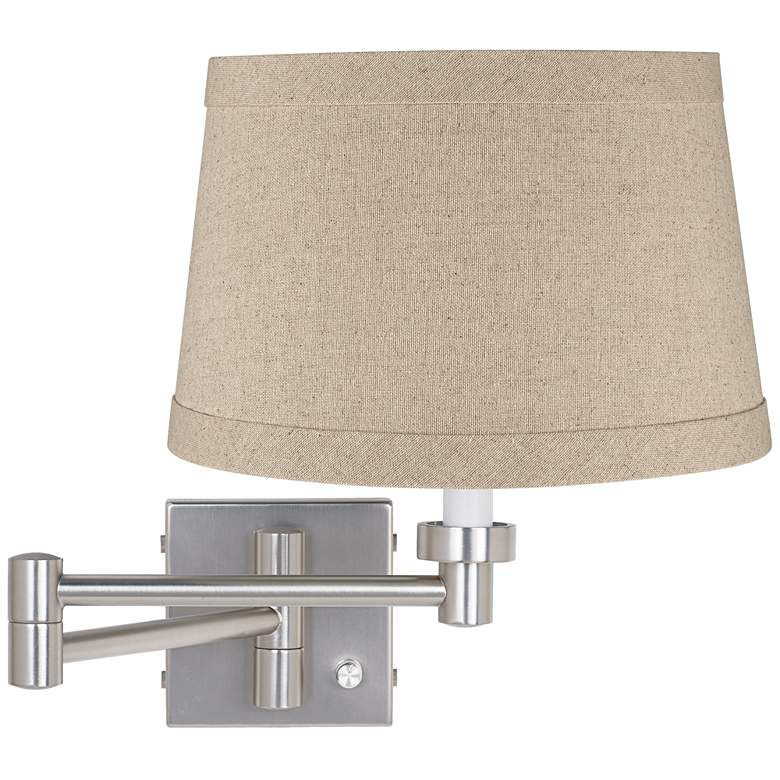 Natural Linen Drum Brushed Nickel Swing Arm Wall Lamp