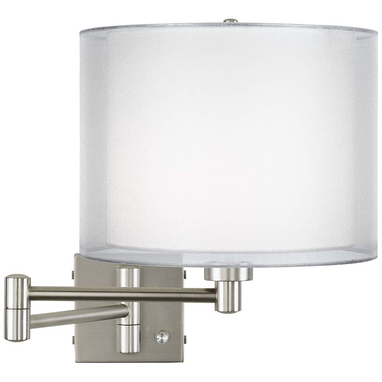 Double Sheer Silver Brushed Nickel Swing Arm Wall Lamp