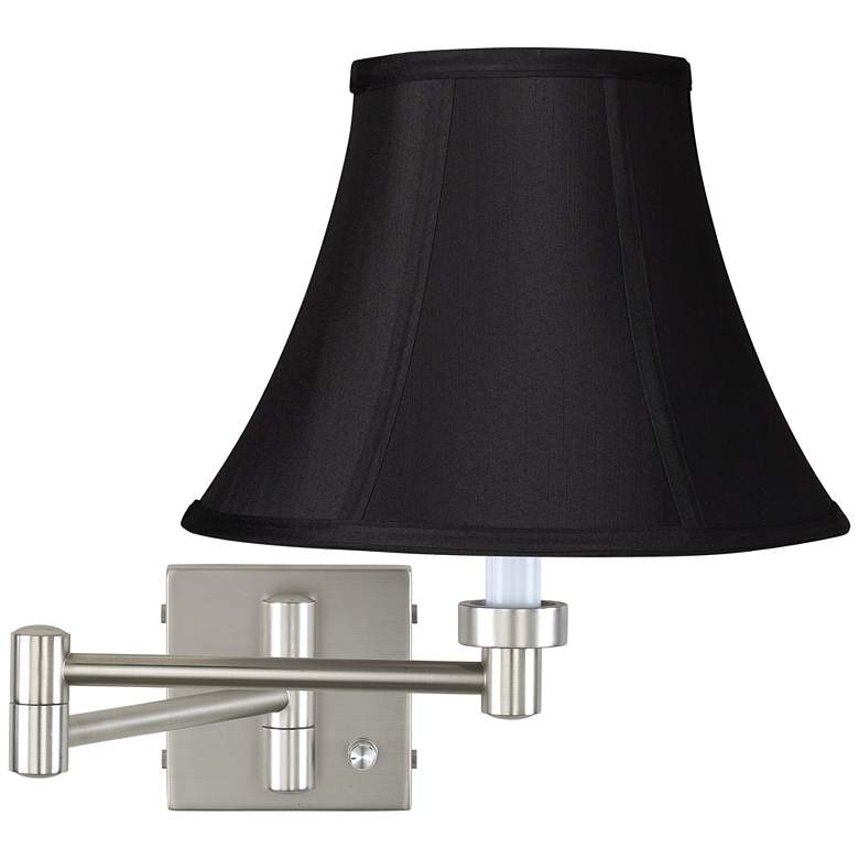 Brushed Nickel Black Bell Shade Swing Arm Wall Lamp