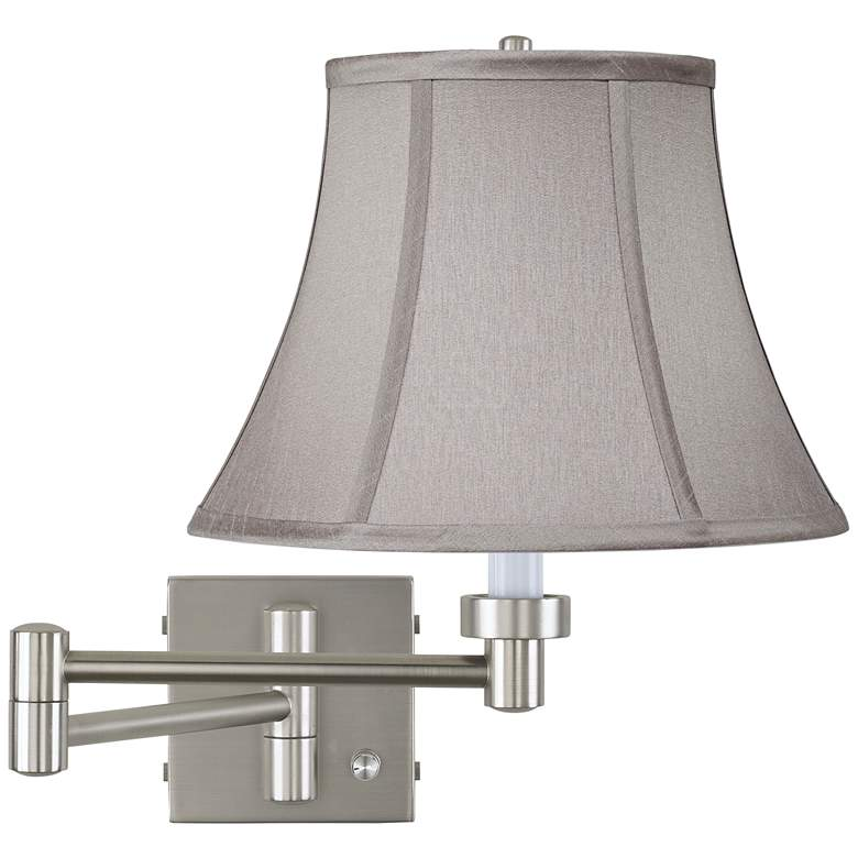 Pewter Gray Bell Brushed Nickel Swing Arm Wall Lamp