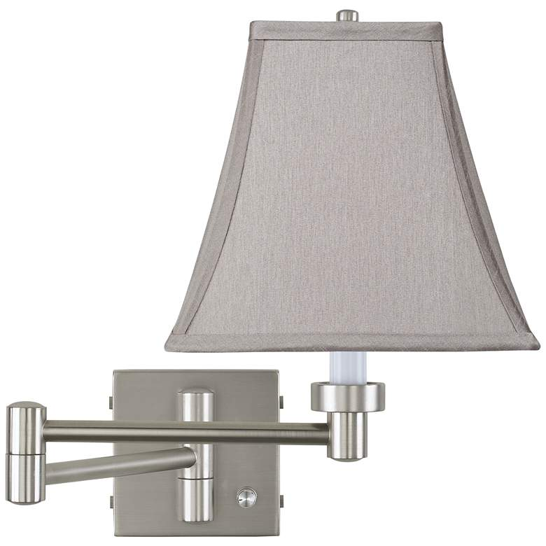 Pewter Gray Square Brushed Nickel Swing Arm Wall Lamp