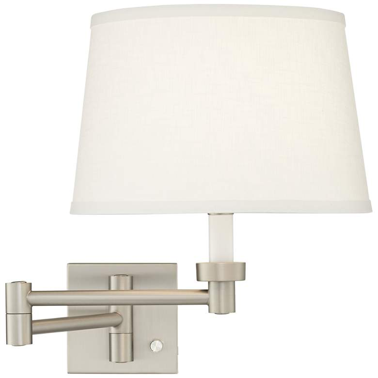 White Linen Shade Brushed Nickel Swing Arm Wall Lamp