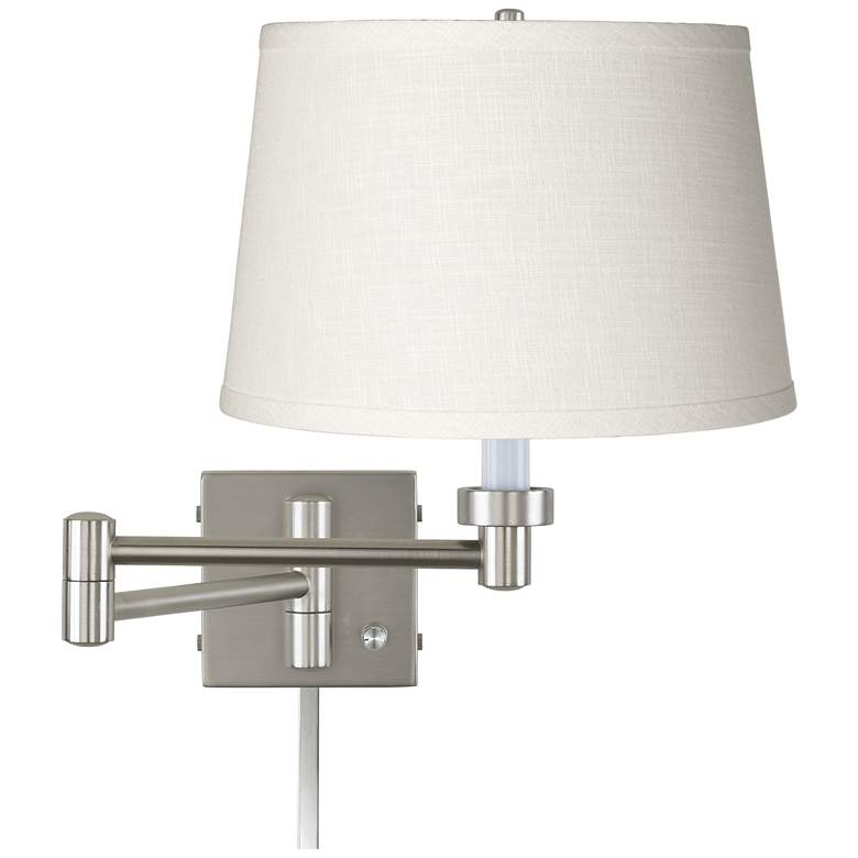 White Linen Brushed Nickel Plug-In Swing Arm with Cord Cover