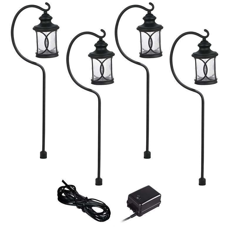 Capistrano Black 4-Path Light LED Landscape Lighting Kit