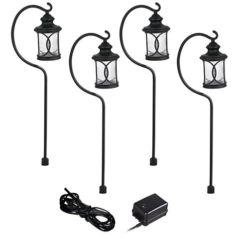 Capistrano Black 4-Path Light LED Landscape Lighting Kit