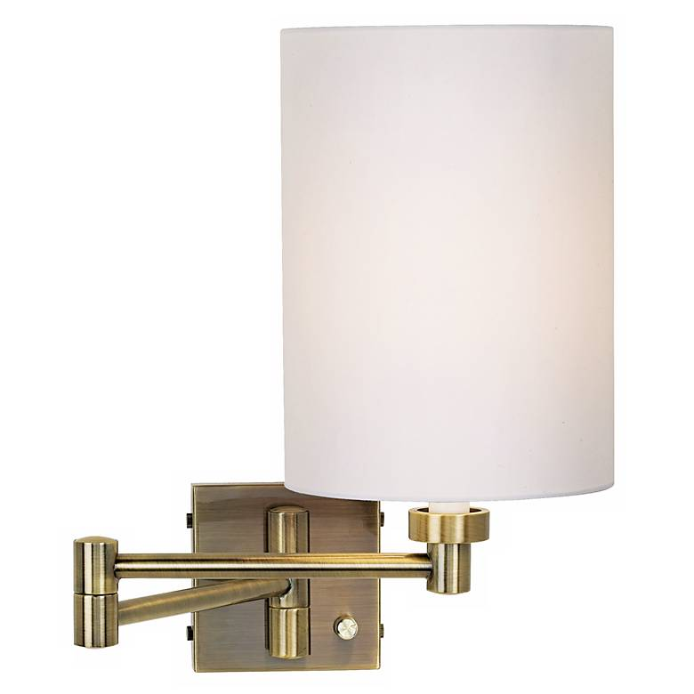 Antique Brass White Cylinder Shade Plug-In Swing Arm Wall Lamp
