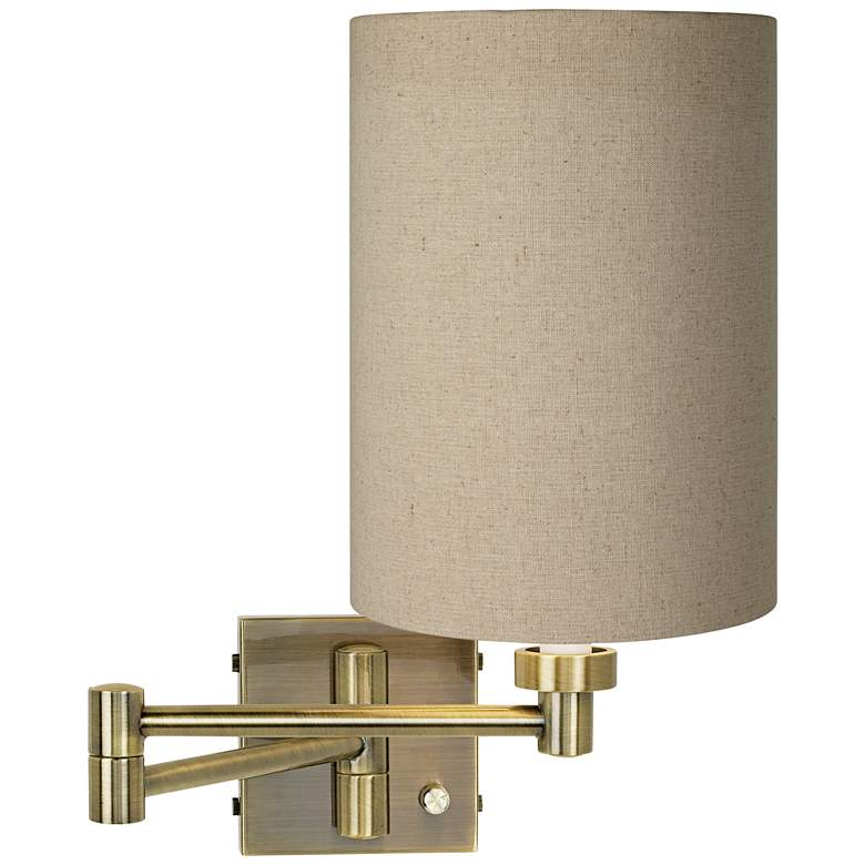 Tan Cylinder Shade Antique Brass Plug-In Swing Arm