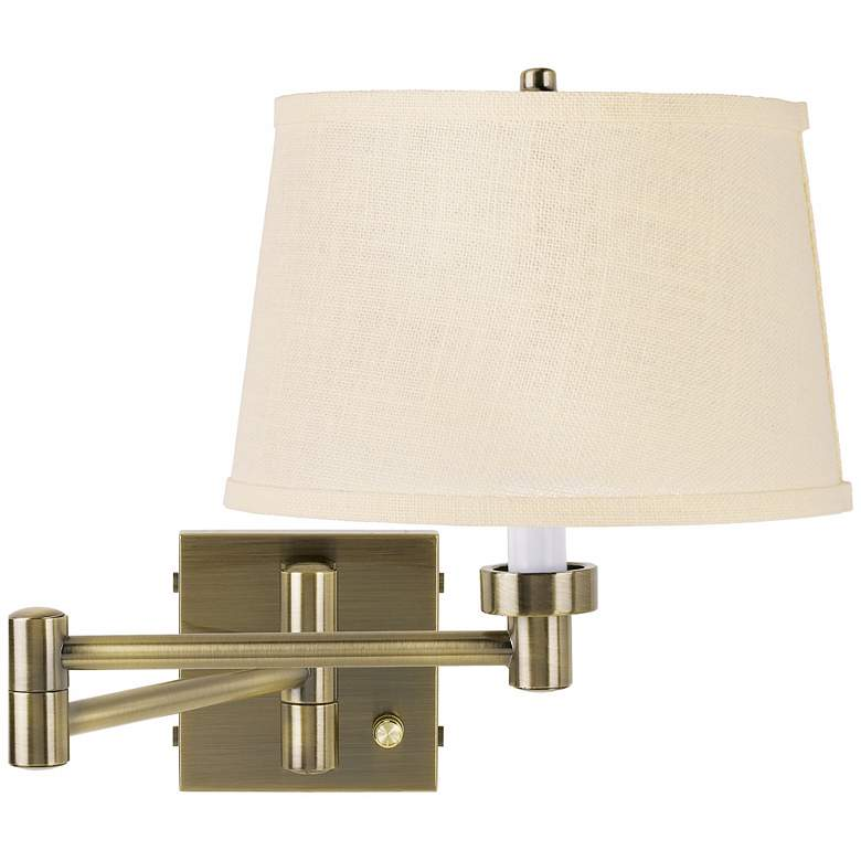 Cream Burlap Shade Antique Brass Plug-In Swing Arm