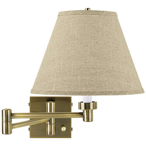 Fine Burlap Empire Antique Brass Swing Arm Wall Lamp