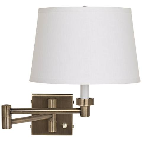 Antique Brass with White Linen Shade Plug-In Swing Arm Wall Lamp