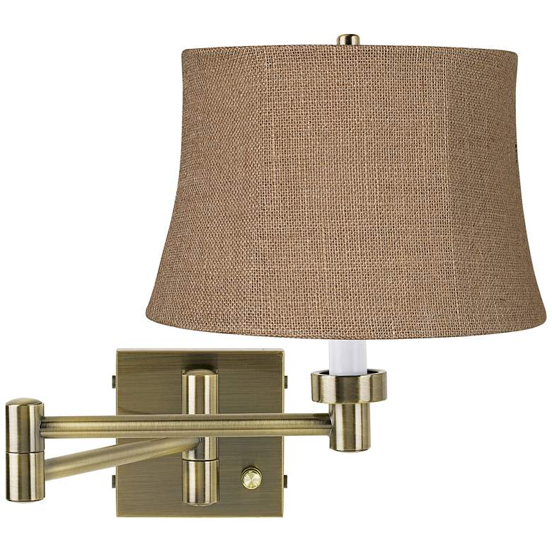Natural Burlap Antique Brass Plug-In Swing Arm Wall