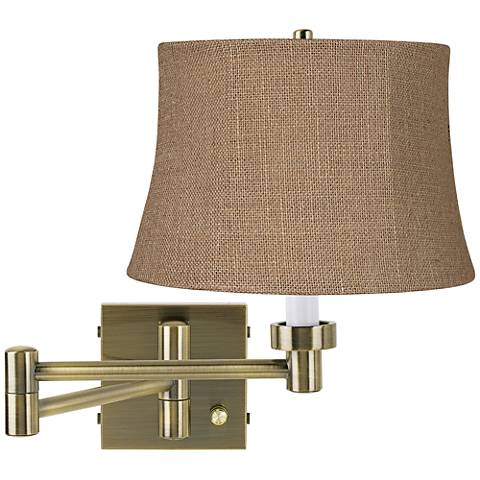 Natural Burlap Antique Brass Plug-In Swing Arm Wall Light