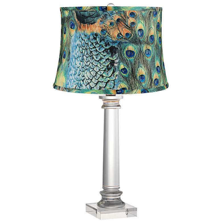 Peacock Print Modern Crystal Column Table Lamp