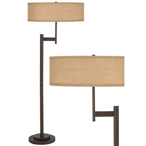 Woven Burlap Parker Light Blaster™ Floor Lamp