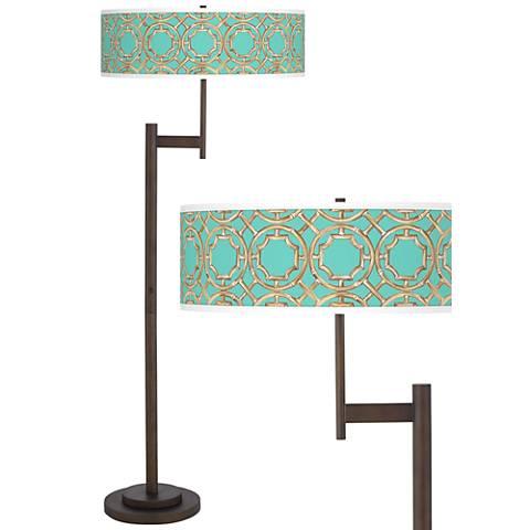 Teal Bamboo Trellis Parker Light Blaster™ Floor Lamp