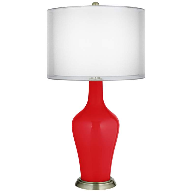 Bright Red Double Sheer Silver Shade Anya Table Lamp