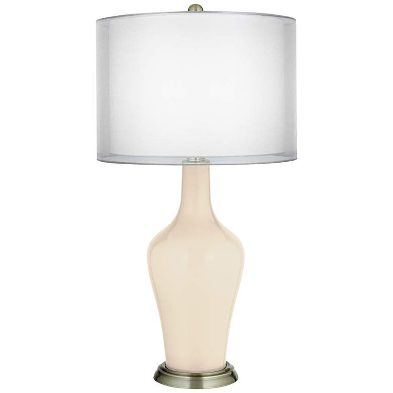 Steamed Milk Double Sheer Silver Shade Anya Table Lamp