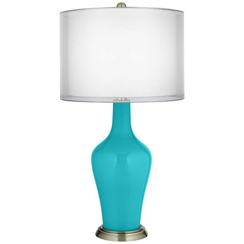 Surfer Blue Double Sheer Silver Shade Anya Table Lamp