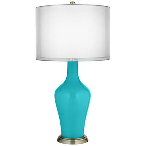 Surfer Blue Double Sheer Silver Shade Anya Table Lamp