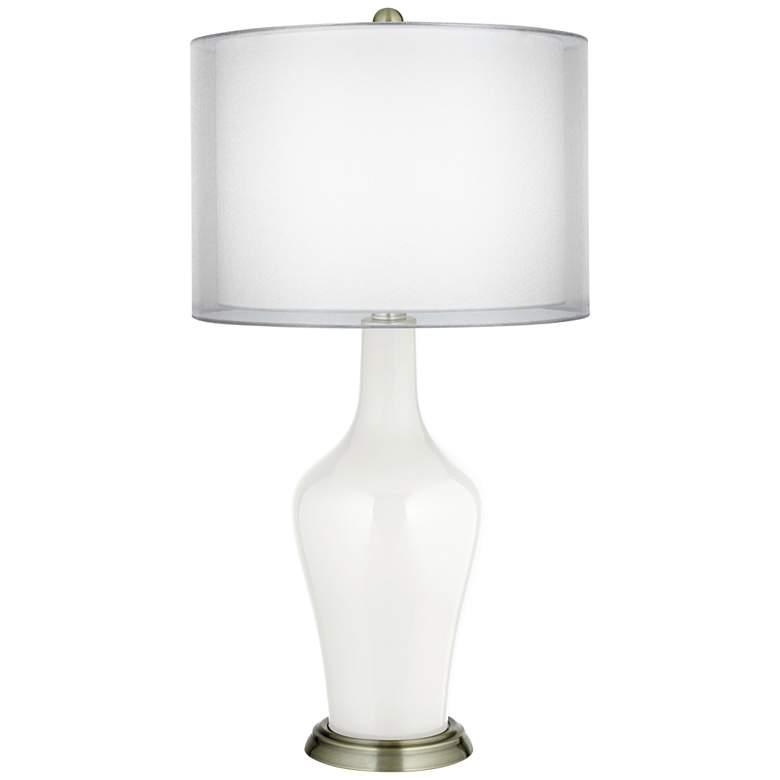 Winter White Double Sheer Silver Shade Anya Table Lamp