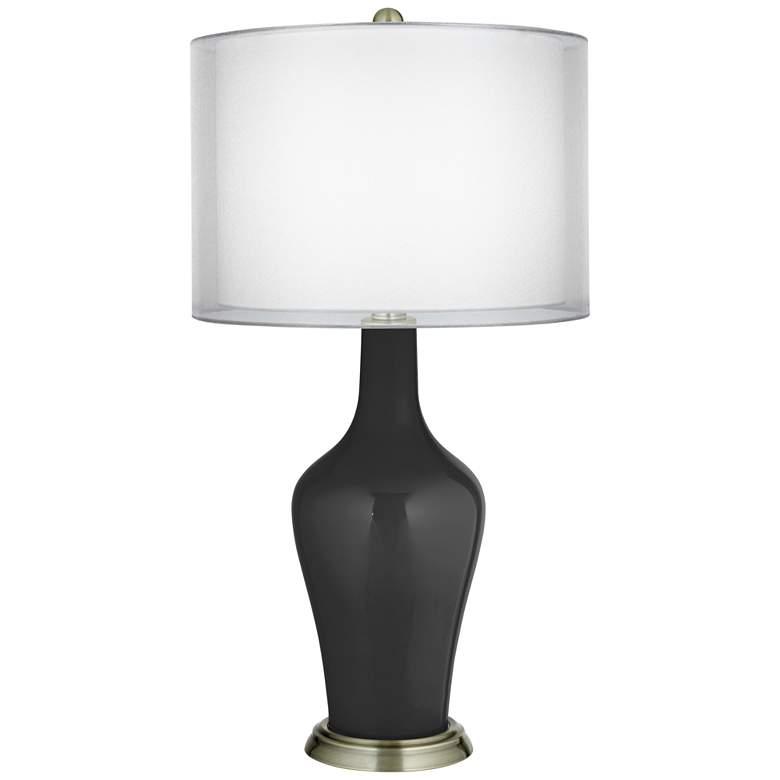 Tricorn Black Double Sheer Silver Shade Anya Table Lamp