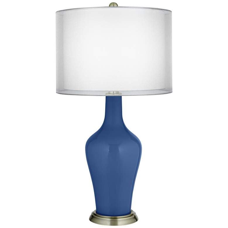 Monaco Blue Double Sheer Silver Shade Anya Table Lamp