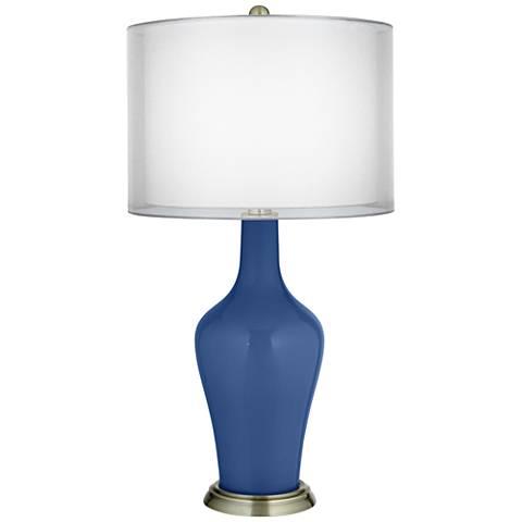Monaco Blue Double Sheer Silver Shade Anya Table Lamp