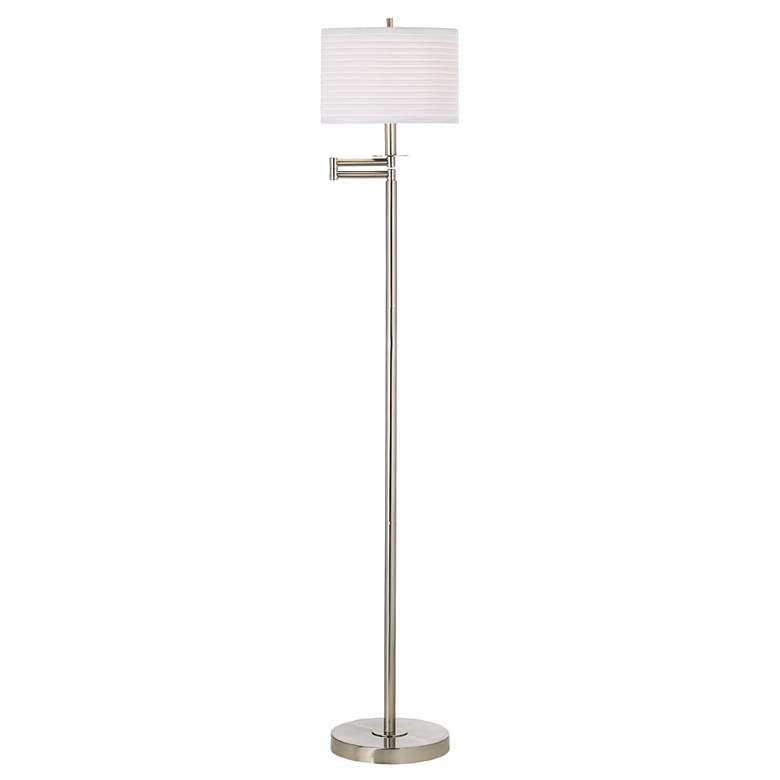 Brushed Nickel with White Drum Shade Swing Arm Floor Lamp