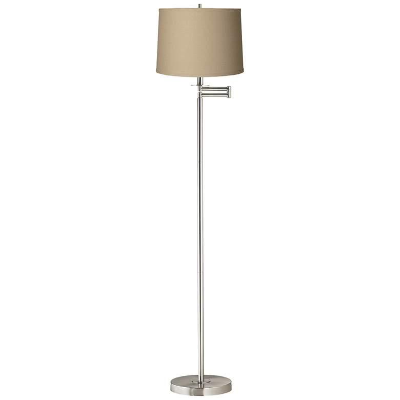 Taupe Linen Brushed Nickel Swing Arm Floor Lamp