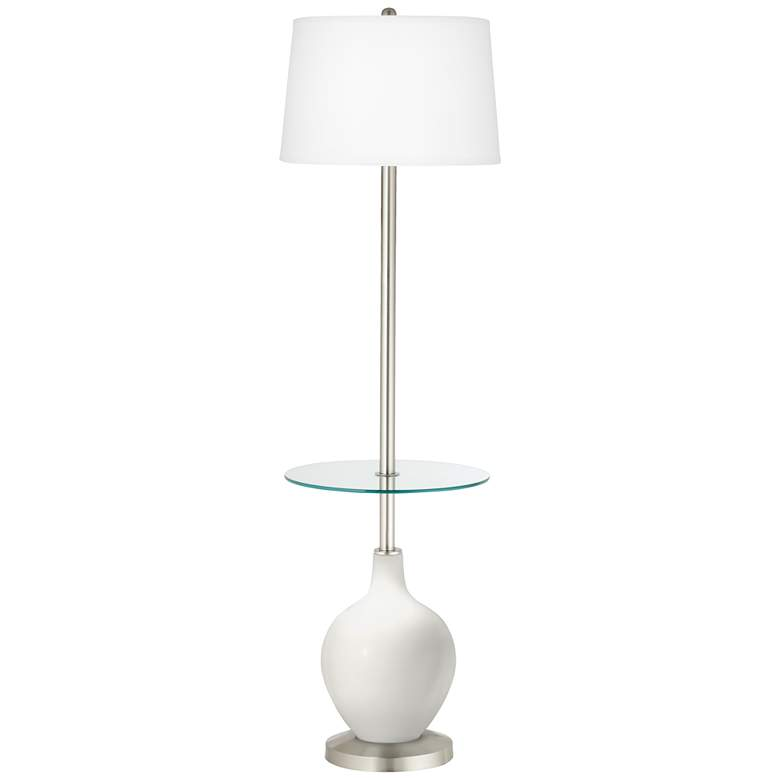 Winter White Ovo Tray Table Floor Lamp
