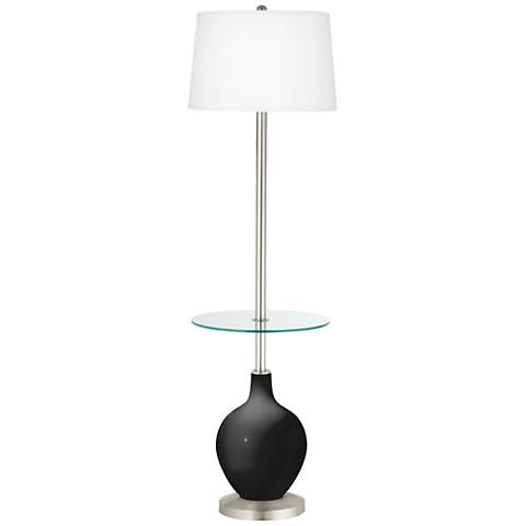 Tricorn Black Ovo Tray Table Floor Lamp