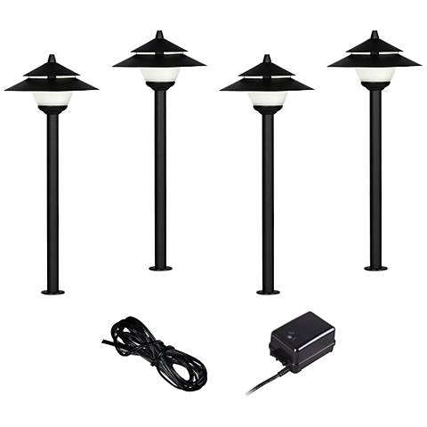 Pagoda Style LED Landscape Light Set of 4 with Transformer