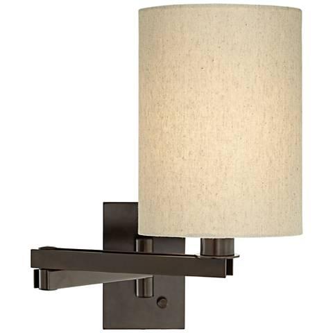 Tan Cylinder Shade Bronze Plug-in Swing Arm Wall Lamp