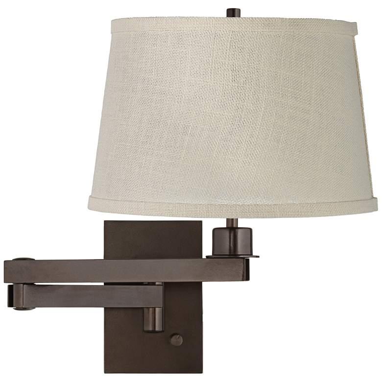 Cream Burlap Shade Bronze Plug-in Swing Arm Wall Lamp