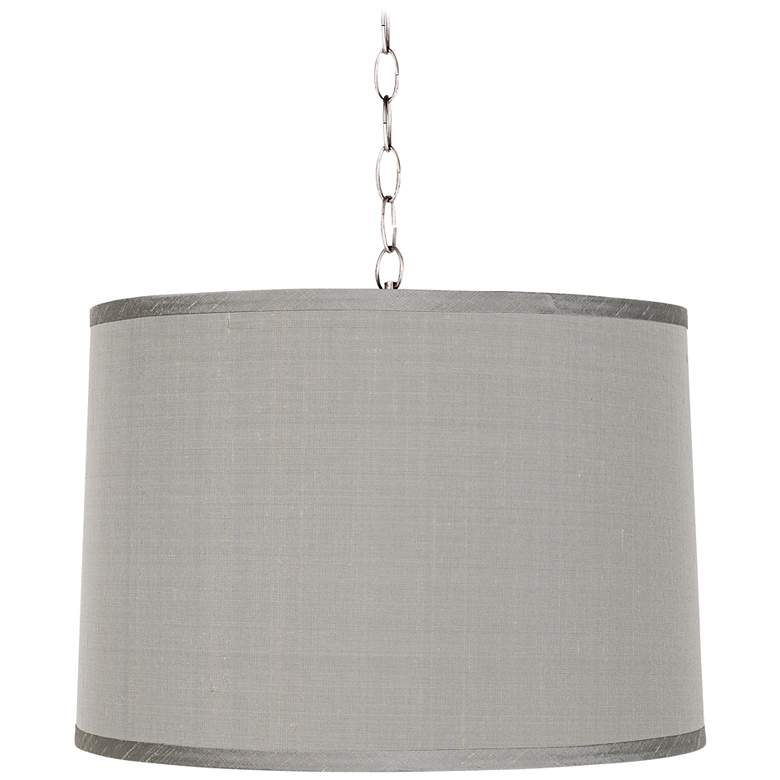 """Platinum Gray 16"""" Wide Brushed Steel Shaded Pendant"""